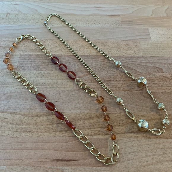 66150948099ad VINTAGE 80's gold tone beaded chain necklaces